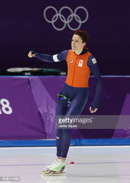 Jorien Ter Mors of the Netherlands celebrates during the Ladies' 1000m Speed Skating on day five of the PyeongChang 2018 Winter Olympics at Gangneung...