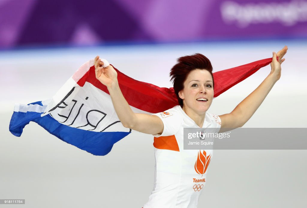 Jorien Ter Mors of the Netherlands celebrates winning the gold medal during the Ladies' 1000m Speed Skating on day five of the PyeongChang 2018 Winter Olympics at Gangneung Oval on February 14, 2018 in Gangneung, South Korea.