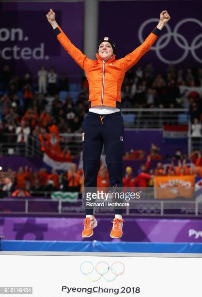 Jorien Ter Mors of the Netherlands celebrates winning the gold medal during the victory ceremony for the Ladies' 1000m Speed Skating on day five of...