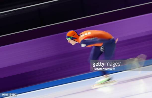 Jorien Ter Mors of the Netherlands competes during the Ladies' 1000m Speed Skating on day five of the PyeongChang 2018 Winter Olympics at Gangneung...