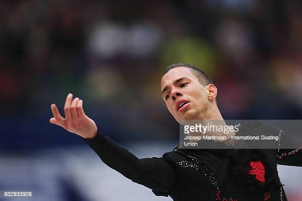 Jorik Hendrickx of Belgium competes in the Men's Free Skating during day 4 of the European Figure Skating Championships at Ostravar Arena on January...