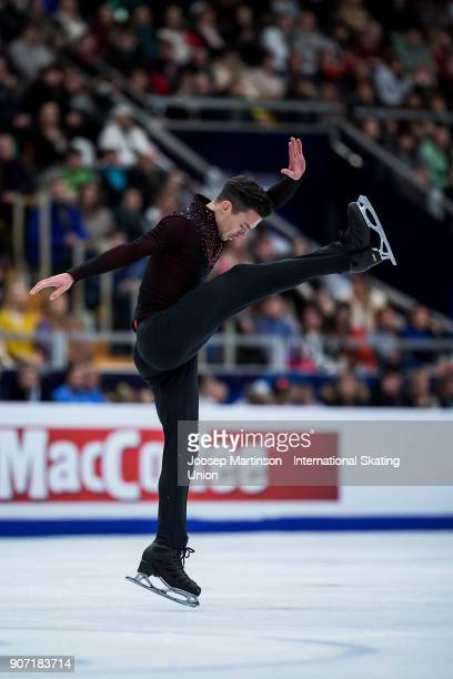 Jorik Hendrickx of Belgium competes in the Men's Free Skating during day three of the European Figure Skating Championships at Megasport Arena on...