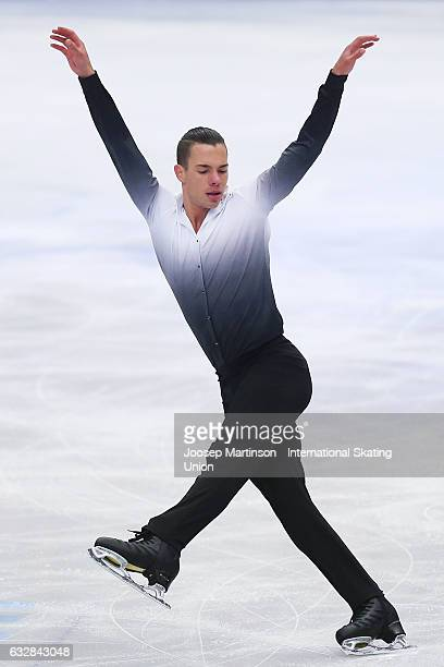 Jorik Hendrickx of Belgium competes in the Men's Short Program during day 3 of the European Figure Skating Championships at Ostravar Arena on January...