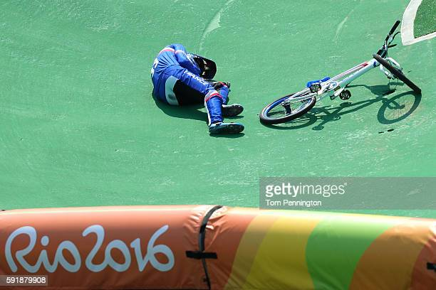 Joris Daudet of France crashes in the Cycling BMX Men's Quarterfinals on Day 13 of the 2016 Rio Olympic Games at Olympic BMX Centre on August 18 2016...