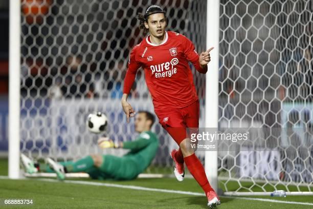 Joris Delle of NEC Nijmegen Enes Unal of FC Twente scoredduring the Dutch Eredivisie match between FC Twente and NEC Nijmegen at the Grolsch Veste on...