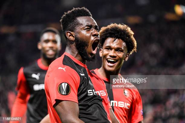 Joris GNAGNON of Rennes celebrates his first goal during the Europa League match between Rennes and Lazio Rome at Roazhon Park on December 12, 2019...