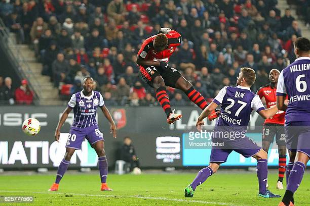 Joris Gnagnon of Rennes during the French Ligue 1 match between Rennes and Toulouse at Roazhon Park on November 25 2016 in Rennes France