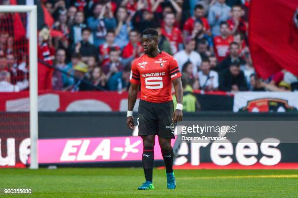 Joris Gnanon of Rennes during the Ligue 1 match between Stade Rennes and Montpellier Herault SC at Roazhon Park on May 19 2018 in Rennes