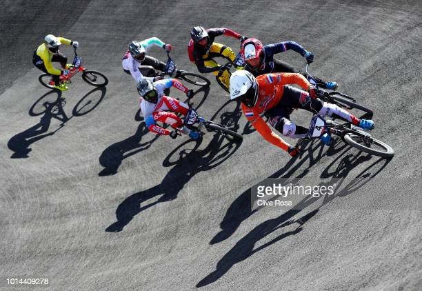 Joris Harmsen of the Netherlands competes in the Men's BMX Motos heats during the BMX on Day Nine of the European Championships Glasgow 2018 at on...