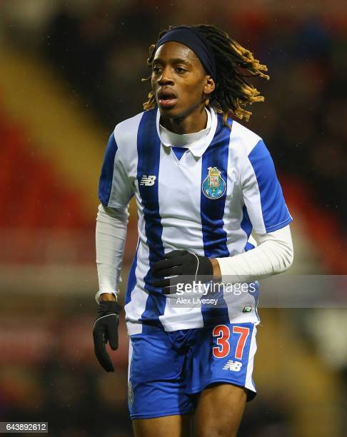 Joris Kayembe of Porto during the Premier League International Cup Quarter Final match between Manchester United U23 and Porto B at Leigh Sports...