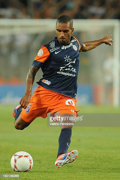 Joris Marveaux of Montpellier Herault SC in action during the Ligue 1 match between Montpellier Herault SC and Toulouse FC at Stade de la Mosson on...
