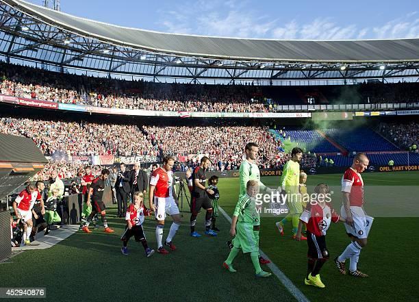 Joris Mathijsen Erwin Mulder Jordy Clasie during the Europa League qualifier third round first leg match between Feyenoord and Besiktas JK on July 30...
