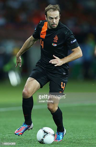 Joris Mathijsen of Netherlands in action during the UEFA EURO 2012 group B match between Portugal and Netherlands at Metalist Stadium on June 17 2012...