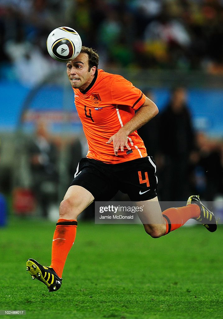Joris Mathijsen of the Netherlands in action during the 2010 FIFA World Cup South Africa Round of Sixteen match between Netherlands and Slovakia at Durban Stadium on June 28, 2010 in Durban, South Africa.