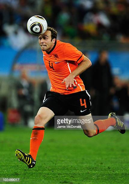 Joris Mathijsen of the Netherlands in action during the 2010 FIFA World Cup South Africa Round of Sixteen match between Netherlands and Slovakia at...