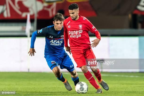 Joris van Overeem of AZ Adam Maher of FC Twente during the Dutch Eredivisie match between FC Twente Enschede and AZ Alkmaar at the Grolsch Veste on...