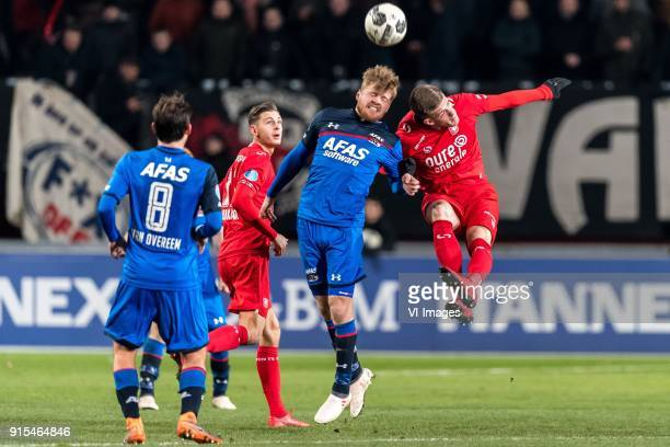 Joris van Overeem of AZ Alexander Laukart of FC Twente Fredrik Midtsjo of AZ Marko Kvasina of FC Twente during the Dutch Eredivisie match between FC...