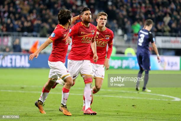 Joris van Overeem of AZ Alireza Jahanbakhsh of AZ Guus Til of AZ during the Dutch Eredivisie match between AZ Alkmaar and FC Twente Enschede at AFAS...
