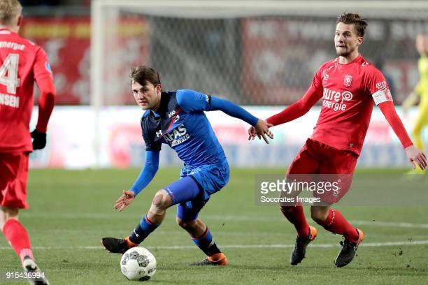 Joris van Overeem of AZ Alkmaar Hidde Ter Avest of FC Twente during the Dutch Eredivisie match between Fc Twente v AZ Alkmaar at the De Grolsch Veste...