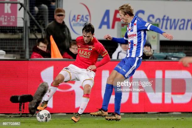 Joris van Overeem of AZ Alkmaar Michel Vlap of SC Heerenveen during the Dutch Eredivisie match between AZ Alkmaar v SC Heerenveen at the AFAS Stadium...
