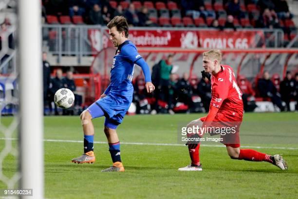 Joris van Overeem of AZ Alkmaar Richard Jensen of FC Twente during the Dutch Eredivisie match between Fc Twente v AZ Alkmaar at the De Grolsch Veste...