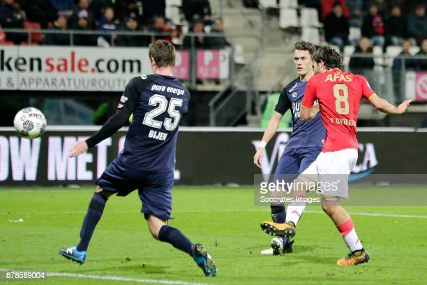 Joris van Overeem of AZ Alkmaar scores his sideÕs first goal to make it 20 during the Dutch Eredivisie match between AZ Alkmaar v Fc Twente at the...