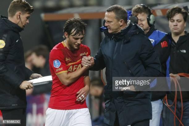 Joris van Overeem of AZ coach John van den Brom of AZ during the Dutch Eredivisie match between AZ Alkmaar and FC Twente Enschede at AFAS stadium on...