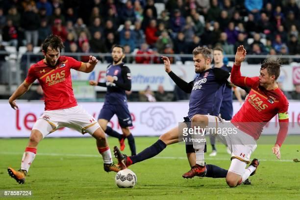 Joris van Overeem of AZ Stefan Thesker of FC Twente Wout Weghorst of AZ during the Dutch Eredivisie match between AZ Alkmaar and FC Twente Enschede...