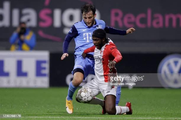 Joris van Overeem of FC Utrecht, Sekou Sidibe of FC Emmen during the Dutch Eredivisie match between FC Emmen v FC Utrecht at the De JENS Vesting on...