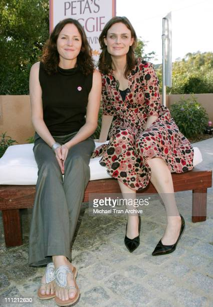 Jorja Fox and Emily Deschanel during PETA'S 2006 Vegan Thanksgiving Roast at Private Residence in Los Angeles California United States