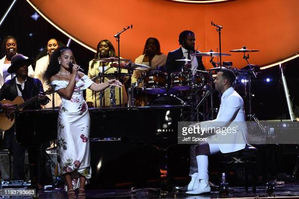 Jorja Smith and John Legend perform at the 2019 Global Citizen Prize at the Royal Albert Hall on December 13, 2019 in London, England.