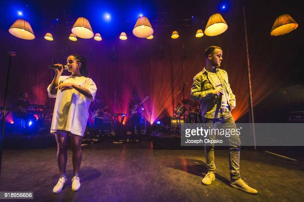 Jorja Smith and Maverick Sabre perform live on stage at O2 Shepherd's Bush Empire on February 15 2018 in London England