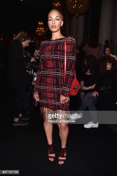 Jorja Smith attends the Balmain show as part of the Paris Fashion Week Womenswear Fall/Winter 2017/2018 on March 2 2017 in Paris France