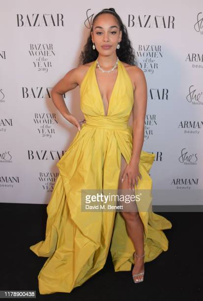 Jorja Smith attends the Harper's Bazaar Women of the Year Awards 2019, in partnership with Armani Beauty, at Claridge's Hotel on October 29, 2019 in...