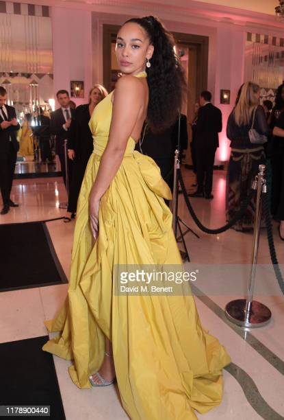 Jorja Smith attends the Harper's Bazaar Women of the Year Awards 2019 in partnership with Armani Beauty at Claridge's Hotel on October 29 2019 in...