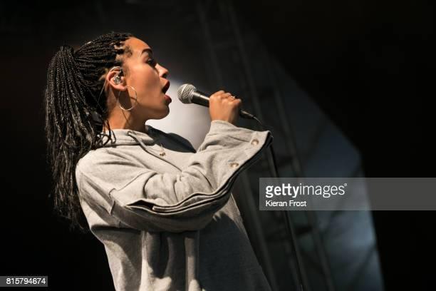 Jorja Smith performs at Longitude Festival at Marlay Park on July 16 2017 in Dublin Ireland