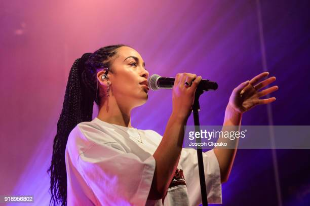 Jorja Smith performs live on stage at O2 Shepherd's Bush Empire on February 15 2018 in London England