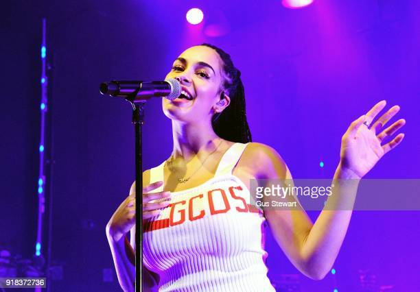 Jorja Smith performs on stage at the O2 Shepherd's Bush Empire on February 14 2018 in London England