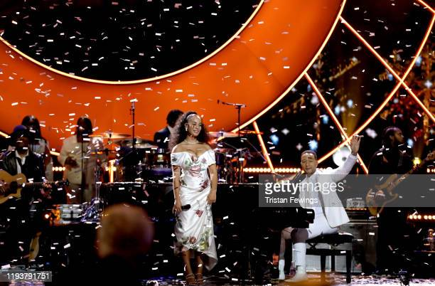 Jorja Smith performs on stage with John Legend at the 2019 Global Citizen Prize at the Royal Albert Hall on December 13 2019 in London England