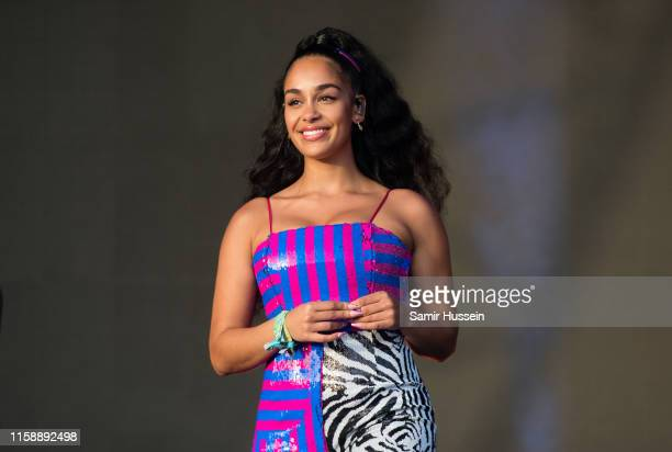Jorja Smith performs on the West Holts Stage on day three of Glastonbury Festival at Worthy Farm Pilton on June 28 2019 in Glastonbury England