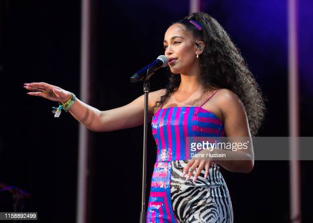 Jorja Smith performs on the West Holts Stage on day three of Glastonbury Festival at Worthy Farm, Pilton on June 28, 2019 in Glastonbury, England.