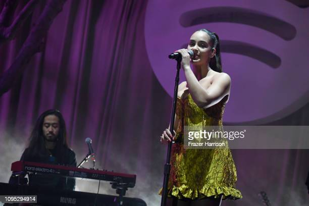 Jorja Smith performs onstage during Spotify Best New Artist 2019 party at Hammer Museum on February 7 2019 in Los Angeles California