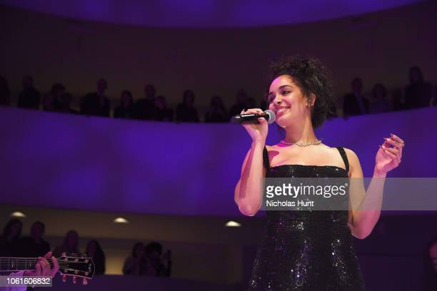 Jorja Smith performs onstage during the 2018 Guggenheim International Gala PreParty made possible by Dior at Solomon R Guggenheim Museum on November...