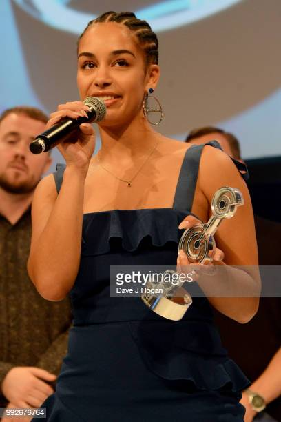 Jorja Smith winner of the Amazon Music Best Newcomer Award on stage during the Nordoff Robbins' O2 Silver Clef Awards ceremony at Grosvenor House on...