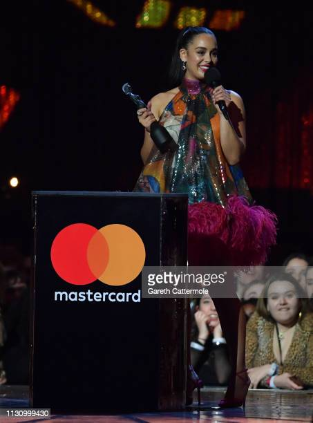Jorja Smith with her British Female Solo Artist during The BRIT Awards 2019 held at The O2 Arena on February 20 2019 in London England