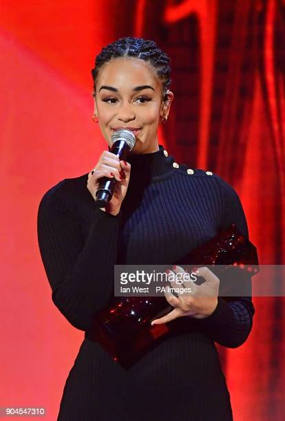 Jorja Smith with the Critics Choice award at the Brit Awards 2018 Nominations event held at ITV Studios on Southbank London