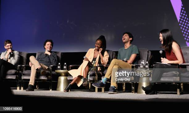 Jorma Taccone Jon Bass Sasha Compere Karan Soni and Shirley Li attend the Miracle Workers screening during SCAD aTVfest 2019 at SCADshow on February...