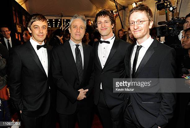 Jorma Taccone Jon Stewart comedian Andy Samberg and Akiva Schaffer of 'The Lonely Island' attend The First Annual Comedy Awards at Hammerstein...