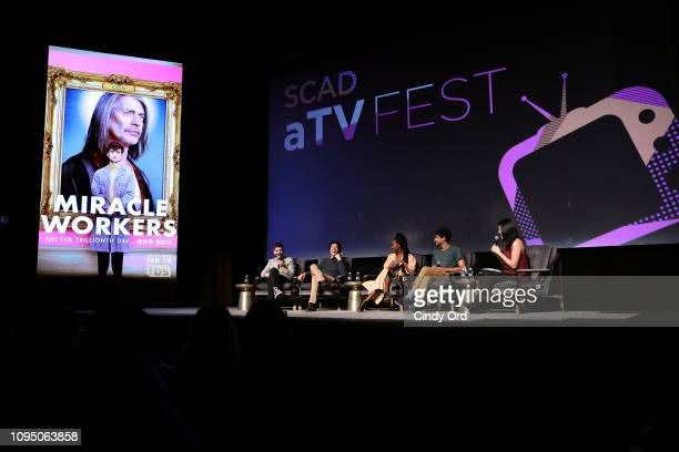 Jorma Taccone Karan Soni Sasha Compère and Jon Bass speak onstage at the Miracle Workers screening during SCAD aTVfest 2019 at SCADshow on February 7...