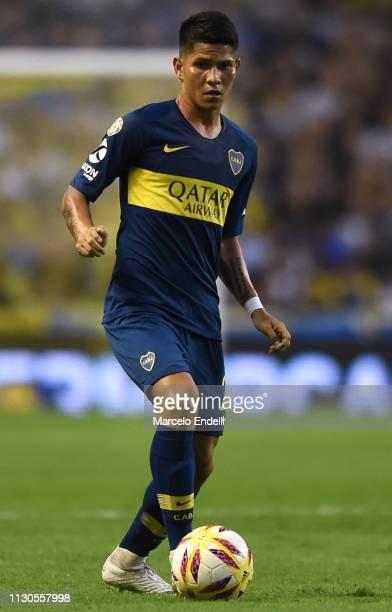 Jorman Campuzano of Boca Juniors drives the ball during a match between Boca Juniors and Lanus as part of Superliga 2018/19 at Estadio Alberto J...
